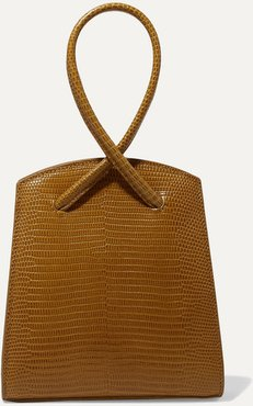 Twisted Mini Lizard-effect Leather Tote - Tan