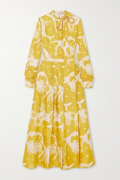 Pussy-bow Pleated Printed Silk-georgette Midi Dress - Yellow