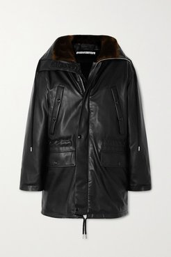 Hooded Faux Fur-trimmed Faux Leather Down Jacket - Black