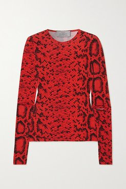 Snake-print Stretch-crepe Top - Red
