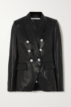 Miller Dickey Double-breasted Leather Blazer - Black
