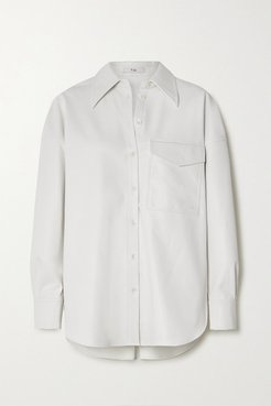 Faux Leather Shirt - White