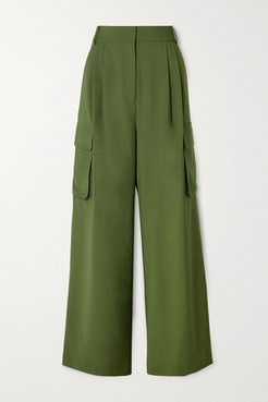 Tropical Pleated Woven Wide-leg Pants - Army green