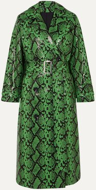 Pernille Teisbaek Shelby Snake-effect Faux Leather Trench Coat - Green