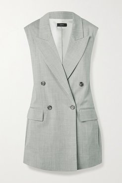 Zappa Double-breasted Stretch-wool Vest - Gray