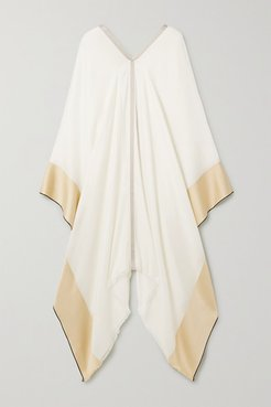Balat Fringed Color-block Silk And Cashmere-blend Wrap - Cream