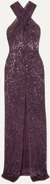 Cutout Sequined Tulle Gown - Purple