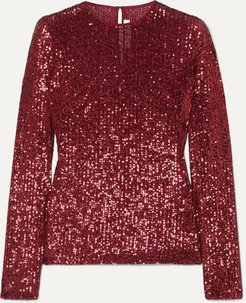 Sequined Tulle Top - Red