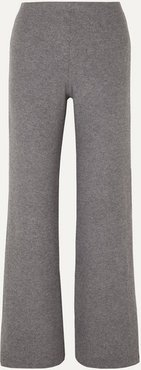 Lori Two-tone Brushed Stretch-knit Wide-leg Pants - Gray
