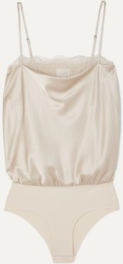 The Romy Lace-trimmed Stretch-silk Charmeuse And Jersey Bodysuit - Beige