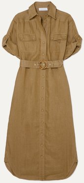 Super Eight Belted Linen Midi Dress - Army green