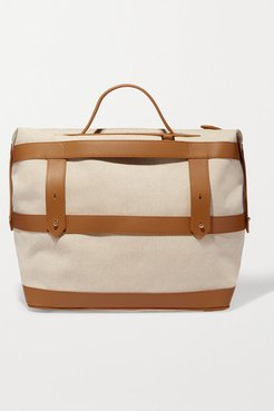 Weekender Leather-trimmed Cotton-canvas Weekend Bag - Tan