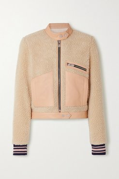 The Rugby Leather-trimmed Faux Shearling Biker Jacket - Beige