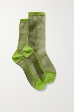 Golf Two-tone Tulle Socks - Green
