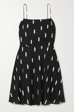 Alice Olivia - Glinda Printed Crepe Mini Dress - Black