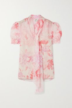 Pussy-bow Floral-print Crepon Blouse - Blush