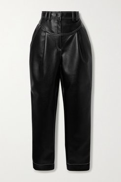 Faux Leather Tapered Pants - Black