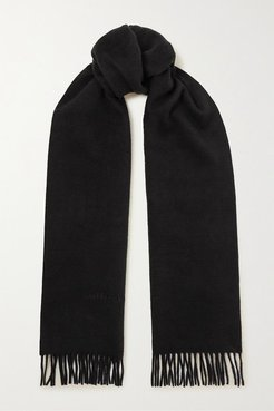 Logo-embossed Fringed Cashmere And Wool-blend Scarf - Black