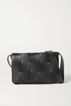 Intrecciato Leather Shoulder Bag - Black