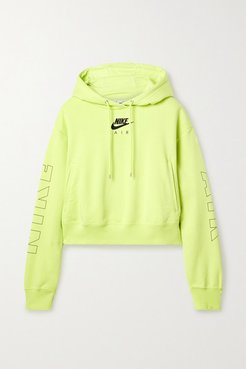 Air Neon Printed Cotton-blend Jersey Hoodie - Yellow