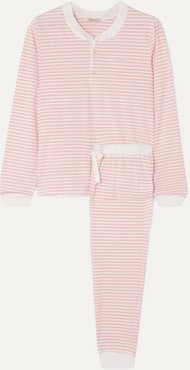 Kaia Embroidered Striped Stretch-cotton Jersey Pajama Set - Pink