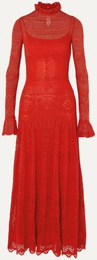Ruffled Crocheted Cotton-blend Lace Maxi Dress - Red