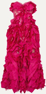 Strapless Ruffled Silk-taffeta And Cotton-blend Lace Gown - Pink
