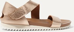 Jedda Metallic Textured-leather Sandals - Pink