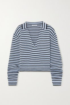 Oversized Striped Knitted Sweater - Blue