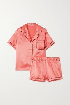 Katelyn Fiona Satin Pajama Set - Coral