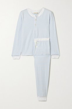 Kaia Striped Stretch-cotton Jersey Pajama Set - Blue