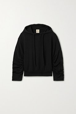 Ruched Stretch Modal And Cotton-blend Hoodie - Black