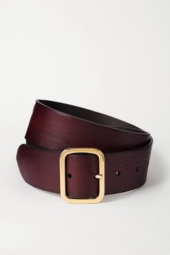 Textured-leather Belt - Burgundy