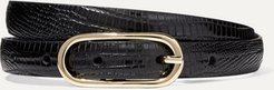 Lizard-effect Leather Belt - Black