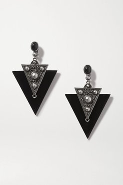 Blackened Silver-tone And Enamel Clip Earrings