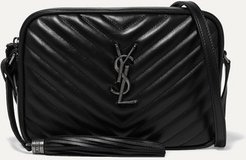 Lou Quilted Leather Shoulder Bag - Black