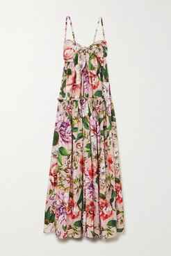 Tie-front Tiered Floral-print Cotton-poplin Maxi Dress - Pink