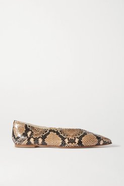 Moa Snake-effect Leather Point-toe Flats - Snake print
