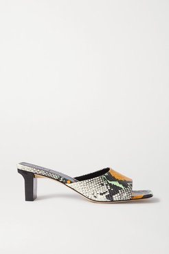 Katti Snake-effect Leather Mules - Snake print