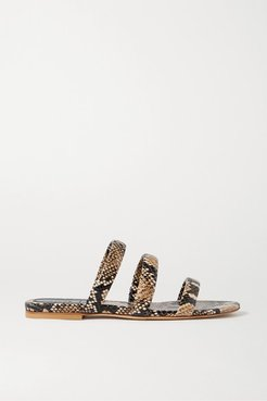 Chrissy Snake-effect Leather Slides - Snake print