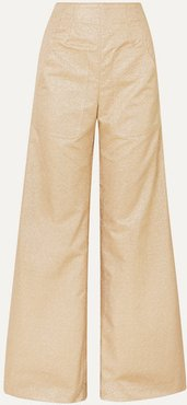 Beau Metallic Crepe Wide-leg Pants - Tan