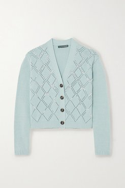 Faux Pearl-embellished Wool And Cotton-blend Cardigan - Sky blue