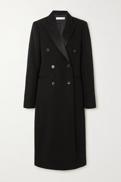 Satin-trimmed Double-breasted Wool-gabardine Coat - Black