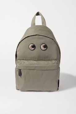 Eyes Snake-effect Leather-trimmed Shell Backpack - Green