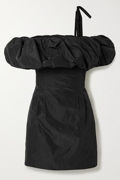 Scandal's Bride Off-the-shoulder Taffeta Mini Dress - Black