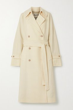 Oversized Belted Double-breasted Wool-twill Coat - Cream