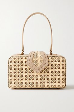 Fey In The '50s Rattan And Leather Tote - Mushroom
