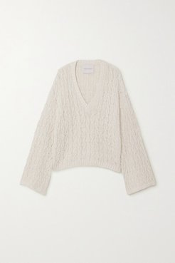 Cable-knit Linen And Cotton-blend Sweater - White