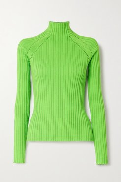 Blake Neon Pointelle-trimmed Ribbed Cotton Sweater - Green