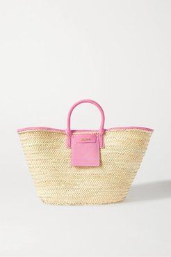 Soleil Large Nubuck-trimmed Straw Tote - Pink